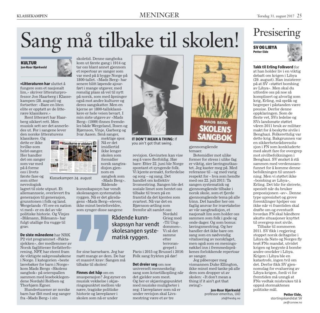Sang må tilbake til skolen, Klassekampen_2017-08-31_print